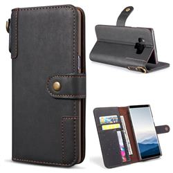 Retro Luxury Cowhide Leather Wallet Case for Samsung Galaxy Note9 - Black
