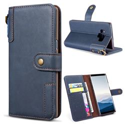 Retro Luxury Cowhide Leather Wallet Case for Samsung Galaxy Note9 - Blue