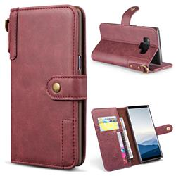 Retro Luxury Cowhide Leather Wallet Case for Samsung Galaxy Note9 - Wine Red