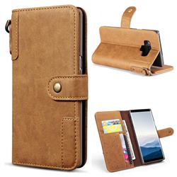 Retro Luxury Cowhide Leather Wallet Case for Samsung Galaxy Note9 - Brown