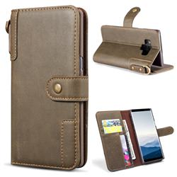 Retro Luxury Cowhide Leather Wallet Case for Samsung Galaxy Note9 - Coffee