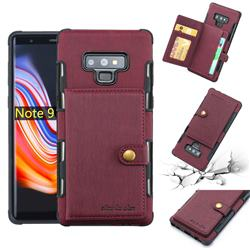 Brush Multi-function Leather Phone Case for Samsung Galaxy Note9 - Wine Red