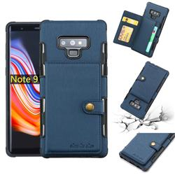 Brush Multi-function Leather Phone Case for Samsung Galaxy Note9 - Blue