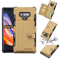 Brush Multi-function Leather Phone Case for Samsung Galaxy Note9 - Golden