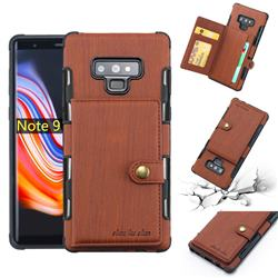 Brush Multi-function Leather Phone Case for Samsung Galaxy Note9 - Brown