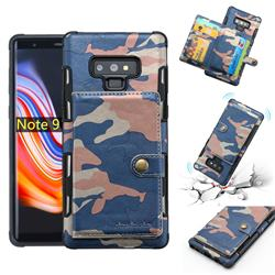 Camouflage Multi-function Leather Phone Case for Samsung Galaxy Note9 - Blue