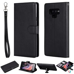 Retro Greek Detachable Magnetic PU Leather Wallet Phone Case for Samsung Galaxy Note9 - Black