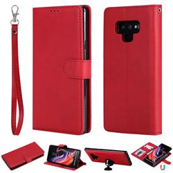 Retro Greek Detachable Magnetic PU Leather Wallet Phone Case for Samsung Galaxy Note9 - Red