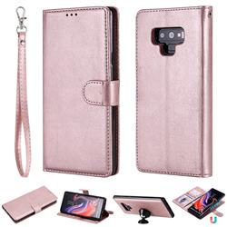 Retro Greek Detachable Magnetic PU Leather Wallet Phone Case for Samsung Galaxy Note9 - Rose Gold