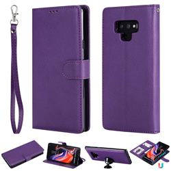 Retro Greek Detachable Magnetic PU Leather Wallet Phone Case for Samsung Galaxy Note9 - Purple
