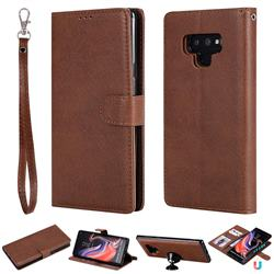 Retro Greek Detachable Magnetic PU Leather Wallet Phone Case for Samsung Galaxy Note9 - Brown