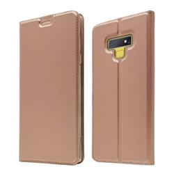 Ultra Slim Card Magnetic Automatic Suction Leather Wallet Case for Samsung Galaxy Note9 - Rose Gold