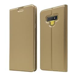 Ultra Slim Card Magnetic Automatic Suction Leather Wallet Case for Samsung Galaxy Note9 - Champagne