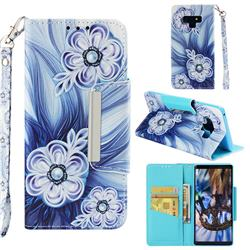 Button Flower Big Metal Buckle PU Leather Wallet Phone Case for Samsung Galaxy Note9