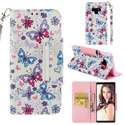 Colored Butterfly Big Metal Buckle PU Leather Wallet Phone Case for Samsung Galaxy Note9
