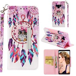 Owl Wind Chimes Big Metal Buckle PU Leather Wallet Phone Case for Samsung Galaxy Note9