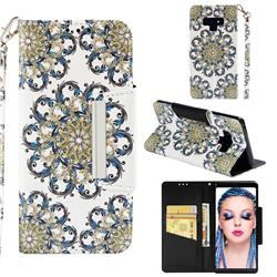 Phoenix Tail Big Metal Buckle PU Leather Wallet Phone Case for Samsung Galaxy Note9