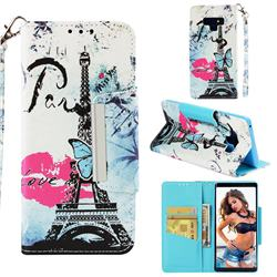 Lip Tower Big Metal Buckle PU Leather Wallet Phone Case for Samsung Galaxy Note9
