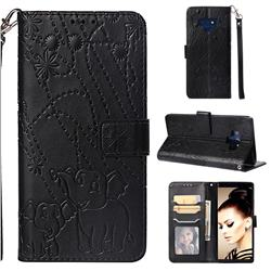 Embossing Fireworks Elephant Leather Wallet Case for Samsung Galaxy Note9 - Black