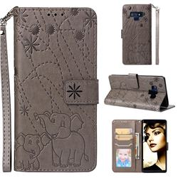 Embossing Fireworks Elephant Leather Wallet Case for Samsung Galaxy Note9 - Gray
