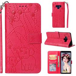 Embossing Fireworks Elephant Leather Wallet Case for Samsung Galaxy Note9 - Red