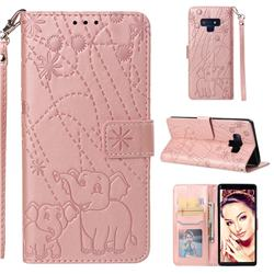 Embossing Fireworks Elephant Leather Wallet Case for Samsung Galaxy Note9 - Rose Gold
