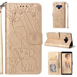 Embossing Fireworks Elephant Leather Wallet Case for Samsung Galaxy Note9 - Golden