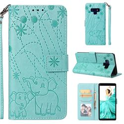 Embossing Fireworks Elephant Leather Wallet Case for Samsung Galaxy Note9 - Green
