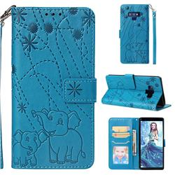 Embossing Fireworks Elephant Leather Wallet Case for Samsung Galaxy Note9 - Blue