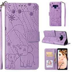 Embossing Fireworks Elephant Leather Wallet Case for Samsung Galaxy Note9 - Purple