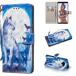 Ice Wolf 3D Painted Leather Wallet Phone Case for Samsung Galaxy Note9