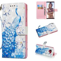 Blue Peacock 3D Painted Leather Wallet Phone Case for Samsung Galaxy Note9