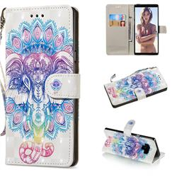 Colorful Elephant 3D Painted Leather Wallet Phone Case for Samsung Galaxy Note9