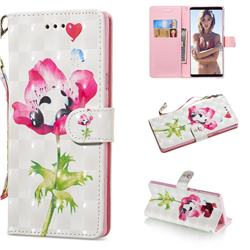 Flower Panda 3D Painted Leather Wallet Phone Case for Samsung Galaxy Note9