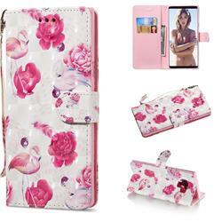 Flamingo 3D Painted Leather Wallet Phone Case for Samsung Galaxy Note9