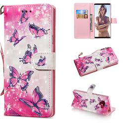 Pink Butterfly 3D Painted Leather Wallet Phone Case for Samsung Galaxy Note9