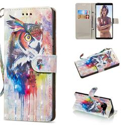 Watercolor Owl 3D Painted Leather Wallet Phone Case for Samsung Galaxy Note9