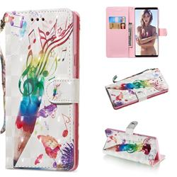 Music Pen 3D Painted Leather Wallet Phone Case for Samsung Galaxy Note9