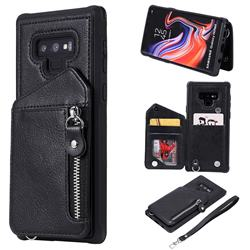 Classic Luxury Buckle Zipper Anti-fall Leather Phone Back Cover for Samsung Galaxy Note9 - Black