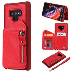 Classic Luxury Buckle Zipper Anti-fall Leather Phone Back Cover for Samsung Galaxy Note9 - Red