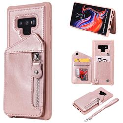 Classic Luxury Buckle Zipper Anti-fall Leather Phone Back Cover for Samsung Galaxy Note9 - Pink