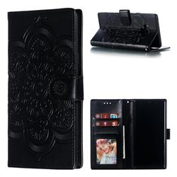 Intricate Embossing Datura Solar Leather Wallet Case for Samsung Galaxy Note9 - Black