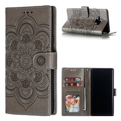 Intricate Embossing Datura Solar Leather Wallet Case for Samsung Galaxy Note9 - Gray
