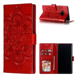 Intricate Embossing Datura Solar Leather Wallet Case for Samsung Galaxy Note9 - Red