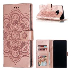 Intricate Embossing Datura Solar Leather Wallet Case for Samsung Galaxy Note9 - Rose Gold