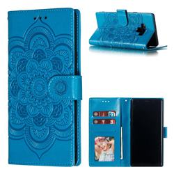 Intricate Embossing Datura Solar Leather Wallet Case for Samsung Galaxy Note9 - Blue