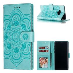 Intricate Embossing Datura Solar Leather Wallet Case for Samsung Galaxy Note9 - Green
