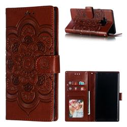 Intricate Embossing Datura Solar Leather Wallet Case for Samsung Galaxy Note9 - Brown