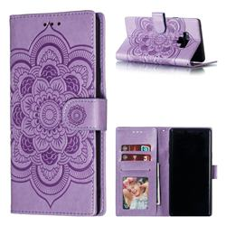 Intricate Embossing Datura Solar Leather Wallet Case for Samsung Galaxy Note9 - Purple