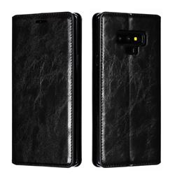Retro Slim Magnetic Crazy Horse PU Leather Wallet Case for Samsung Galaxy Note9 - Black